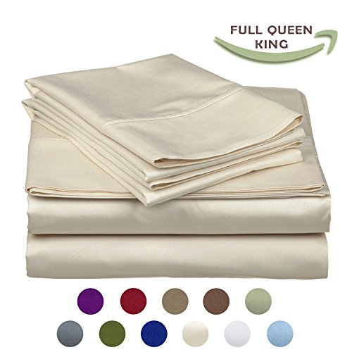 Italy Bed Linens (High Strength Natural Bamboo Fiber Yarns Egyptian Comfort 1800 Thread Count 4 Piece Full Size Sheet Set, BEIGE Color)