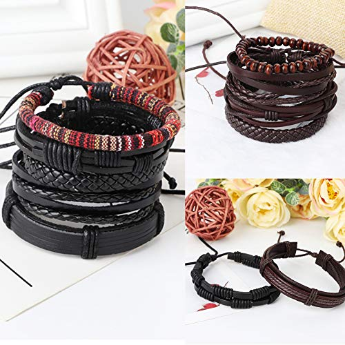 FIBO STEEL 24Pcs Braided Leather Bracelet for Men Womens Wood Beads Wrap Cuff Bracelets Adjustable