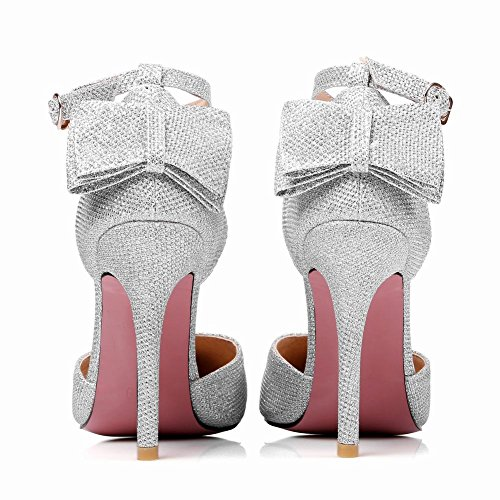 Carolbar Womens Pointed Toe Bows Ankle Strap Stiletttos Evening Party Sandals Silver ftV6QcMB