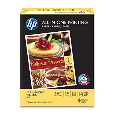 HP Paper, All-in-One Printing Paper Poly Wrap, 22 lb, 8.5 x 11, 96 Bright, 500 Sheets / 1 Ream (207010) Made In The USA