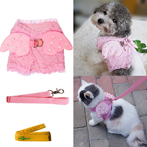 - Pink Cute Adorable Pet Cat Dog Harness and Leash Set with Lace Artificial Pearl Angel Wing (Small)