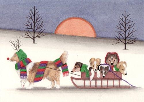 Sheltie (shetland sheepdog) family goes for holiday sled ride / Lynch folk art print
