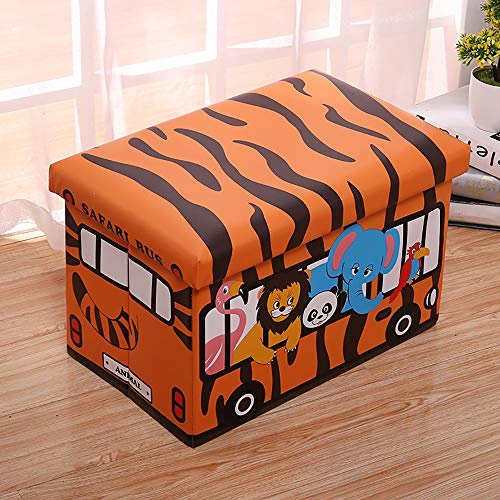 (Do4U Safari Bus Toy Storage Organizer Toy Box Folding Organizer Storage Ottoman Bench Footrest for Kids Bedroom Collapsible Toy Bin Organizer)