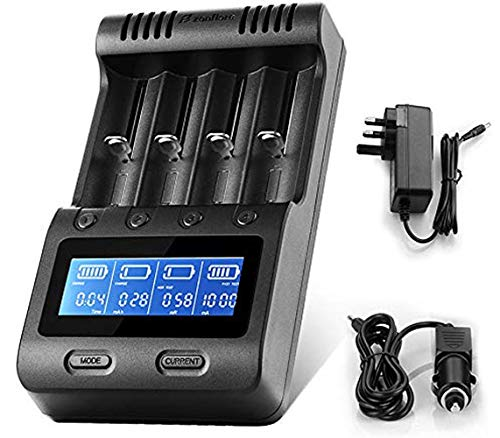Zanflare C4 Universal Battery Charger with Car Adapter, 18650 Smart Charger LCD Display For Ni-MH Ni-Cd AA AAA AAAA SC, Li-ion 18650 26650 26500 22650 18490 17670 17500 Rechargeable Batteries Charger