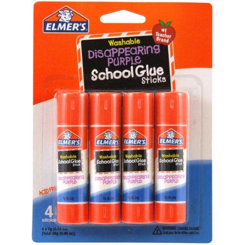 - Elmer's Disappearing Purple School Glue Sticks, 0.24 oz Each, 4 Sticks per Pack (E543)