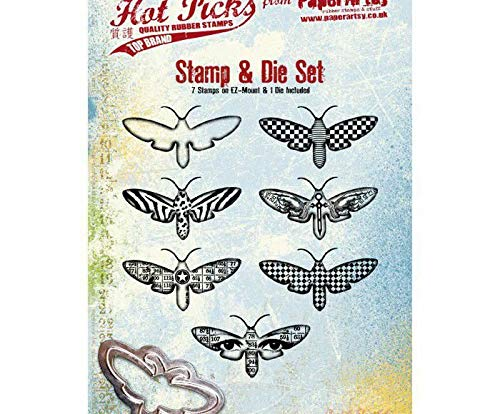 Moths - Rubber Cling Stamps (7ks) and Cutting Metal Template (1ks), Paperartsy, Scrapbooking Paper