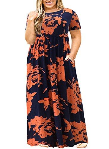 Latest Nemidor Women Short Sleeve Loose Plain Casual Plus Size Long Maxi Dress with Pockets (OrangePrint, 22W) Plus Size Dresses 2