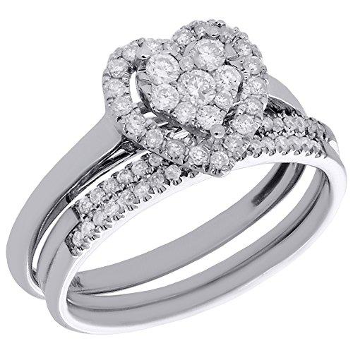 10K White Gold Round Diamond Cluster Heart Engagement Ring + Wedding Band 3 Piece Bridal Set 0.50 Cttw