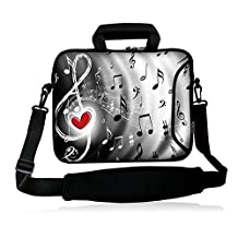 "ICOLOR Neoprene Laptop houlder Bag with Strap Waterproof Shoulder Case Pouch School Office Work Case Bag with Multi Pictures for Size 9.7"" 10 inch 10.2"" Pro/HP/Acer/Dell/Asus/Samsung Notebook Music"