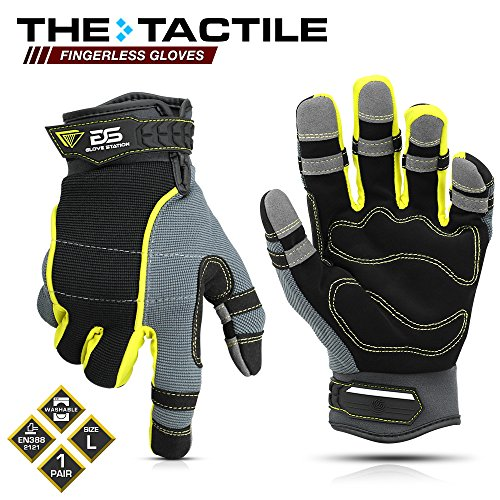 (Glove Station The Tactile Series Multi-Purpose Fingerless Safety Work Gloves - Shrink Resistant, Tough, Enhanced Grip, Large Size, 1 Pair)