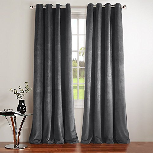 Velvet Home Panel Window Grommet (NICETOWN Thermal Insulated Velvet Blackout Curtains - Classic Velvet Woven Home Theater Grommet Top Blackout Drapes (2 Panels, W52xL84-inch, Grey))