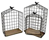 KeKaBox Set of 3 House Shaped Metal Wire Hanging Shelves with Natural Wood Accent