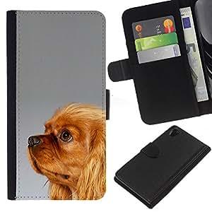 EJOY---La carpeta del tirón la caja de cuero de alta calidad de la PU Caso protector / Sony Xperia Z2 D6502 / --Yorkshire Terrier de Oro Piel Marrón