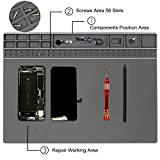 "Silicone Magnetic Large Soldering Mat Heat Resistant 932°F Electronics Repair Mat for Cellphone, Laptop, Soldering Station with Size 15.9"" x 12"" (Grey)"