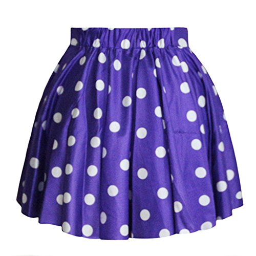 AvaCostume Women's High Waisted Candy Colors Polka Dot Skirt, Purple -
