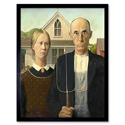 Grant Wood American Gothic Painting Art Print Framed Poster Wall Decor 12x16 inch ()