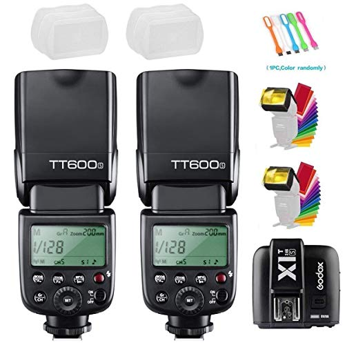Godox TT600S 2PCS Camera Flash Speedlite GN60 High-Speed Sync 1/8000s 2.4G Wireless X-System Master Slave Light with X1T-S Trigger Transmitter Compatible for Sony Cameras from GODOX