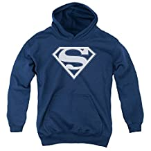 Superman DC Comics Navy & White Shield Big Boys Youth Pull-Over Hoodie