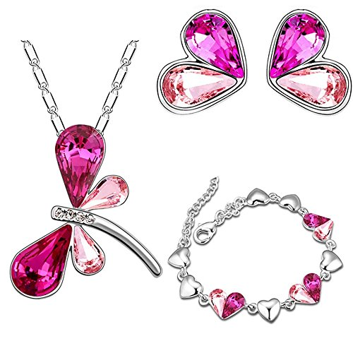 LOVFASHION Red Crystal Jewelry Set Dragonfly Necklace Earrings Bracelet Set for Women Girls Gifts ()