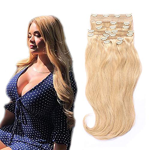 YONNA Remy Human Hair Clip in Extensions Double Weft Long Soft Straight 10 Pieces Thick to Ends Full Head Honey Blonde #28 14inch 100g