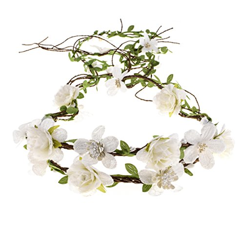 Floral Fall Adjustable Bridal Flower Garland Headband Flower Crown Hair Wreath Halo F-83 (Style 2 White)