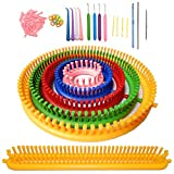 ALIMELT Round Knitting Loom Set Long Knitting Board Weave Loom Craft Yarn Kit DIY Tool with Crochet Hooks Knitting Needles for Hat Scarf Shawl Sweater Sock Blankets Knitter: more info