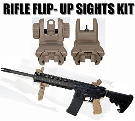 amazon com flip up rifle sight kit rear and front polymer sight