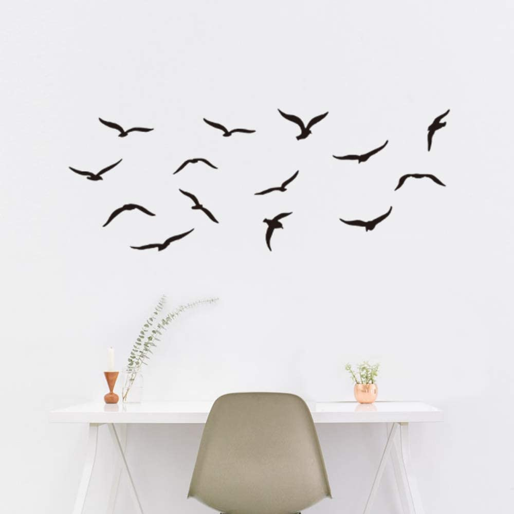 Black Birds Flying Wall Decor for Bedroom, Flying High to Sky Wall Decorations for Living Room Classroom Nursery Room Wall Decals
