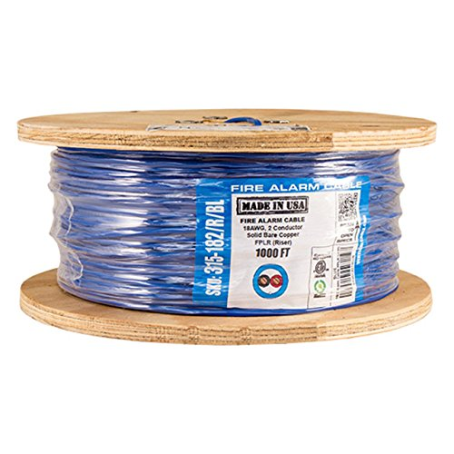 (Vertical Cable Fire Alarm Cable, 18 AWG, 2 Conductor, Solid, Unshielded, FPLR (Riser), 1000ft Spool, Blue - Made in USA)
