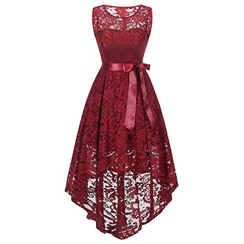 DEATU Bridesmaid Lace Dress Women Sleeveless/Long Sleeve Formal Ladies Wedding Bridesmaid Lace Long Dress(A-Red ,XXL) ()
