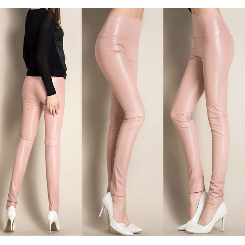 WEIMEITE Leggings Autunno Inverno Donna Leggings Skinny Pelle PU Leggings Pantaloni Slim Ecopelle Pantaloni in Pile Sottili