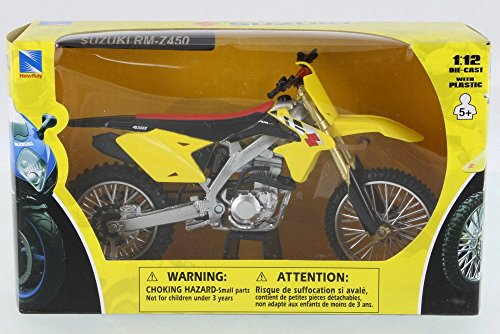 New Ray Suzuki RM-Z450 Dirtbike, Yellow w/ Black 57643 - 1/12 Scale Vehicle -