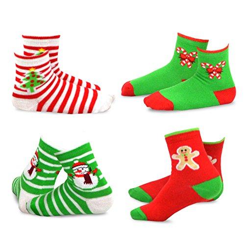TeeHee Christmas Kids Cotton Fun Crew Socks 4-Pair Pack (9-10 Years, Stripe Tree Snowman Candy Cane