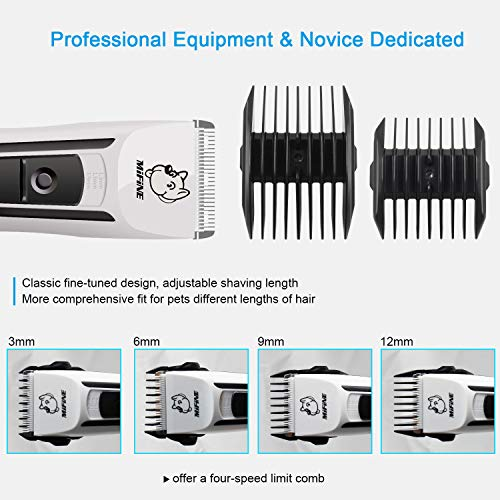 Professional Dog Grooming Clippers - Rechargeable Dog Grooming Kit and Dog Hair Clippers Cordless Suitable Dog & Cat and Other House Animals, Dog Hair Trimmer by Mifine (Image #5)