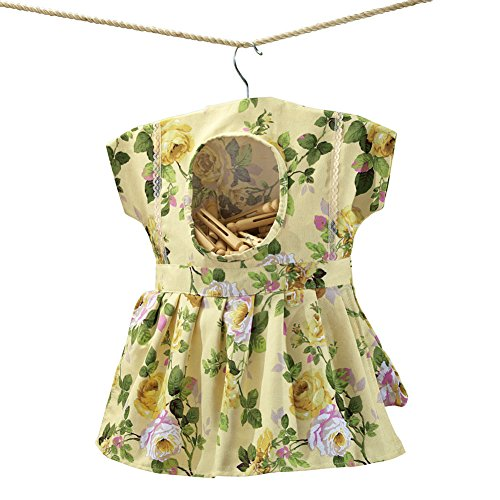 Whimsical Floral Print Dress Hanging Clothespin Bag, Use for Indoor or Outdoor Laundry Drying, Beige