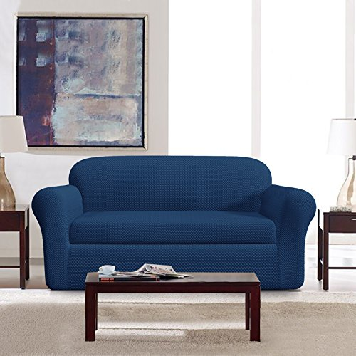 DyFun 2-Piece Jacquard Spandex Stretch Dining Room Sofa Slipcovers (Loveseat, Blue)