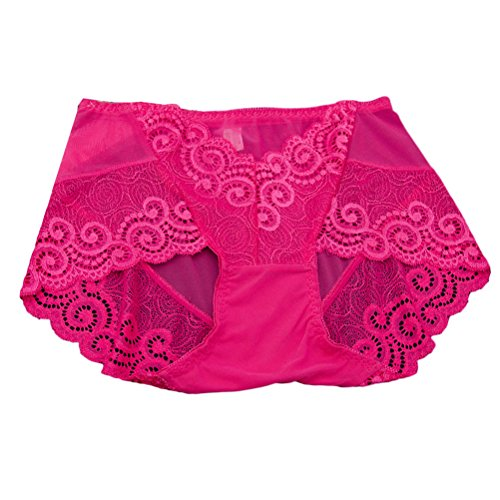 Zhhlinyuan Alta calidad Casual Ladies Lace Hipster Panty Skin-friendly Net Yarn Hollow High Waist Underwear Lingerie Multicolor Rose Red