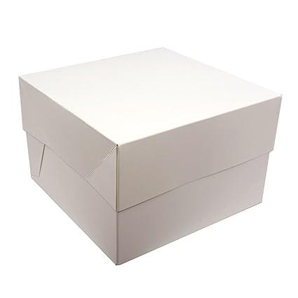 Cajas para pasteles. Cuadradas. Blancas. Paquete de 5. ¡Ideales para llevar tus creaciones!, Blanco, 8 pulgadas: Amazon.es: Hogar