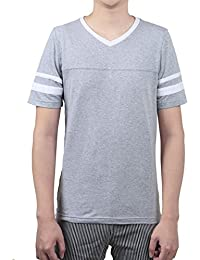 Allegra K Men Color Block V Neck Contrast Striped Panel Short Sleeves T-Shirt