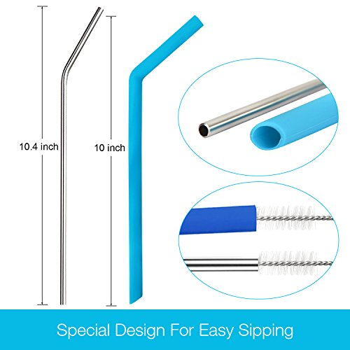 WEBSUN Reusable Silicone Straws Set With Pouch FDA & LFGB Approved, 6 PCS Silicone Straws for 30/20oz Yeti/Ozark/Rtic Tumblers, 2 PCS Metal Straws & 2 Cleaning Brushes