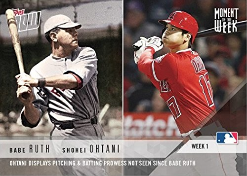 2018 Topps Now Moment of the Week #MOW-1 Babe Ruth and Shohei Ohtani Baseball Card - Only 17,750 made!