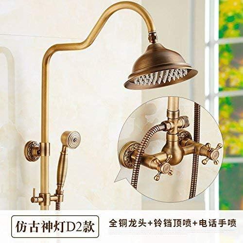 ShiSyan 立体水栓 万能水栓 バスルームのシンクは、タップ非震とう浴室Faucets.All銅レトロシャワーシャワーシャワーの蛇口スーツ/アンティーク温水と冷水の蛇口ブロンズシャワー浴室のシャワーヘッド、Lタップ 混合水栓