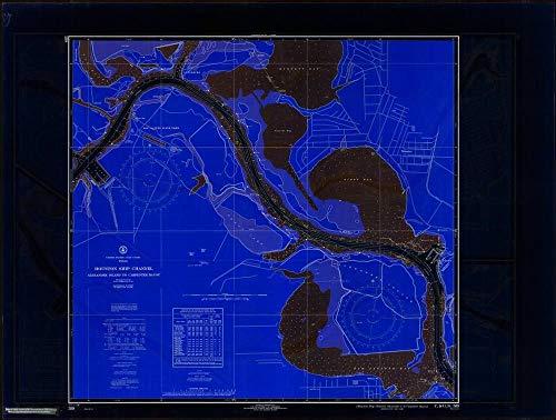 t Style 18 x 24 Art Canvas Wrap 1968 Nautical Chart Houston Ship Channel, Alexander I. to Carpenter Bayou by US Coast & Geodetic Survey TX ()