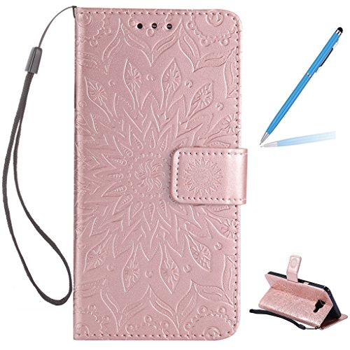 Trumpshop Smartphone Carcasa Funda Protección para Samsung Galaxy A5 (2017) [Verde] 3D Mandala PU Cuero Caja Protector Billetera Choque Absorción Oro Rosa