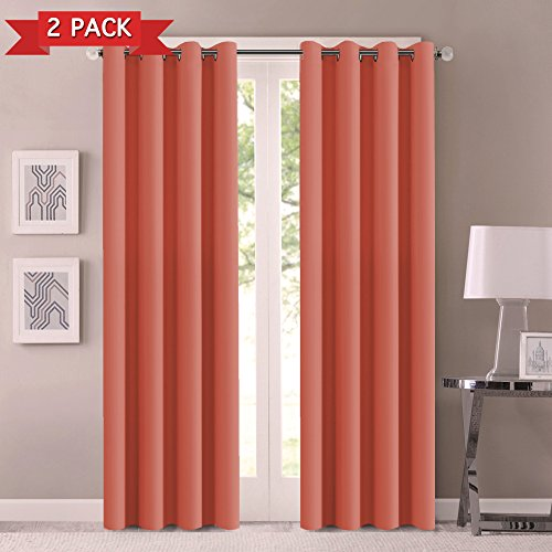 Flamingo P Thermal Insulated Solid Grommet Room Darkening Panels/Drapes for Girls' Bedroom Blackout Curtains Draperies for Bedroom Living Room, Elegant Window Treatment 52 x 84 Inch 2 Panels, Coral (Flamingo Coral)