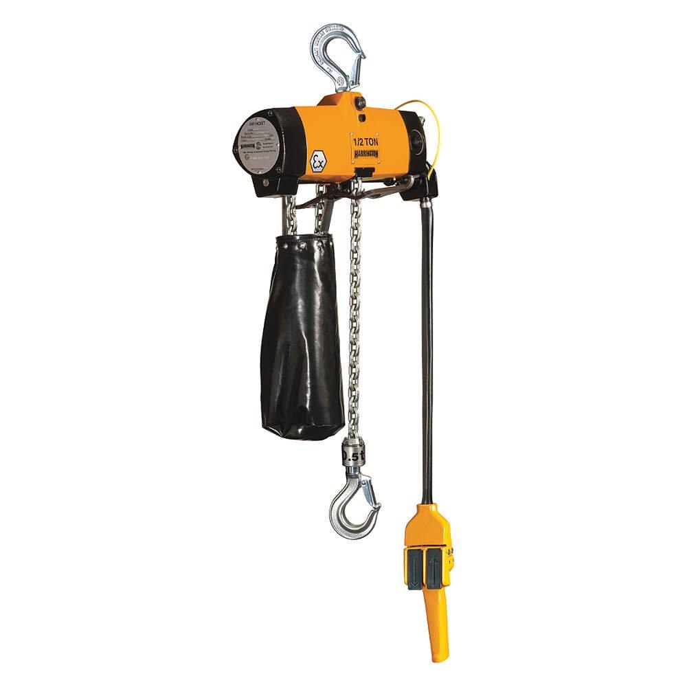 Harrington AL005P-15 Series AL Ex Certified Spark Resistant and Lube Free Pendant Control Air Hook Mount Chain Hoist 15 Lift 1//2 Tons Capacity