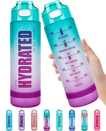 🥇 Fidus 32oz/22oz Motivational Water Bottle with Time Marker & Chug Lid