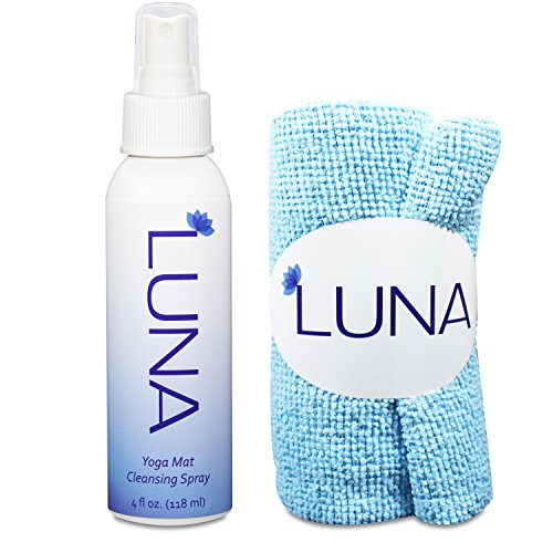 Luna Yoga Mat Cleaner Spray Kit 4oz - 100% All-Natural & Organic - Clean & Disinfect With No Sticky Residue - Includes Microfiber Cloth Yogi Towel