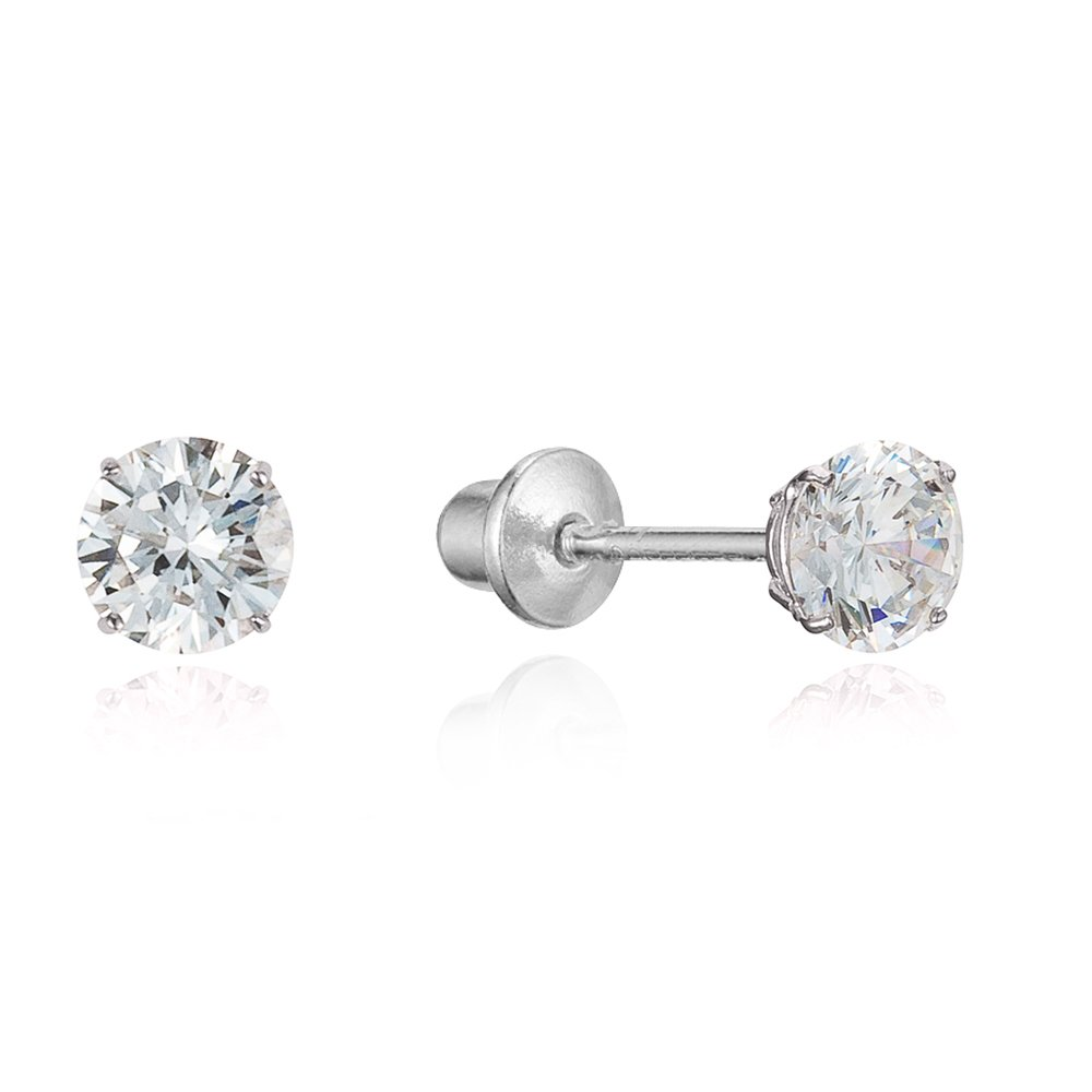 Sterling Silver Rhodium Plated 4mm Cubic Zirconia Stud Screwback Baby Girls Earrings