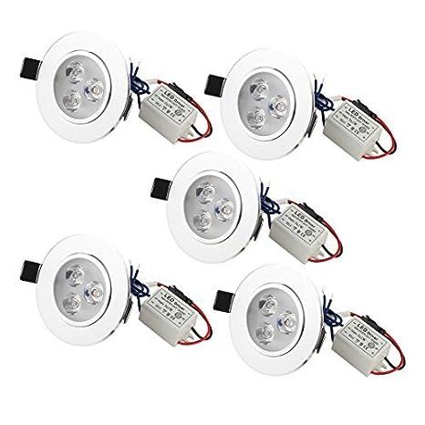 5 piezas de 3W blanco puro 3 LED empotrada en el techo Downlight lámpara abajo del punto - - Amazon.com